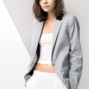 MNG/ MANGO Striped Seersucker Suit Blazer!